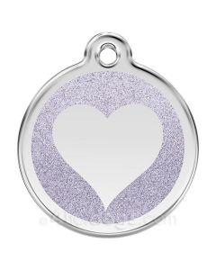Glimmer - hjerte large-Sølv