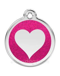 Glimmer - hjerte large-Hot pink