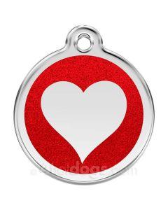 Glimmer - hjerte medium-Rød